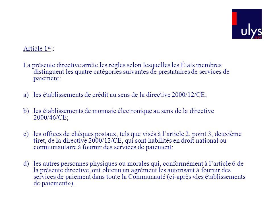 Article 1er :