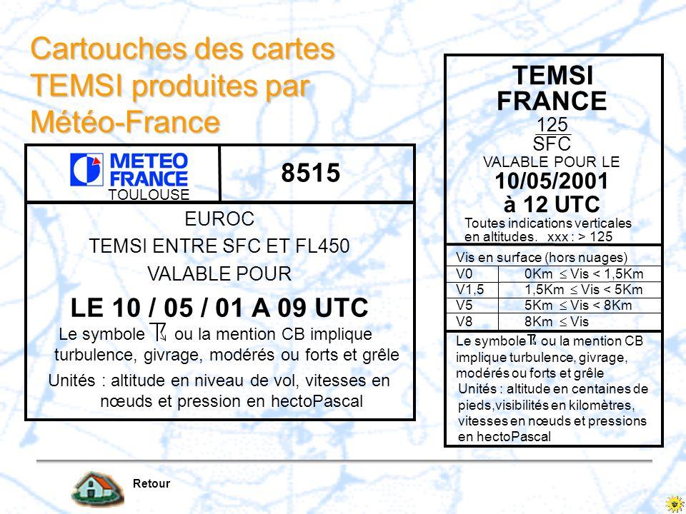 Cartouches des cartes TEMSI produites par Météo-France