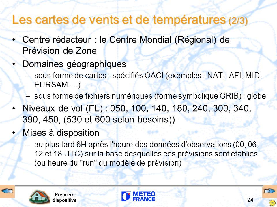 Les cartes de vents et de températures (2/3)