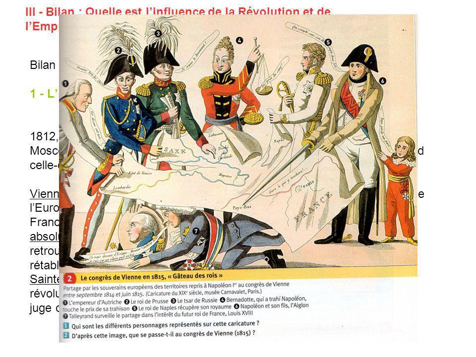 III - Bilan : Quelle est l'influence de la Révolution et de l'Empire sur l'Europe du début du XIX° siècle