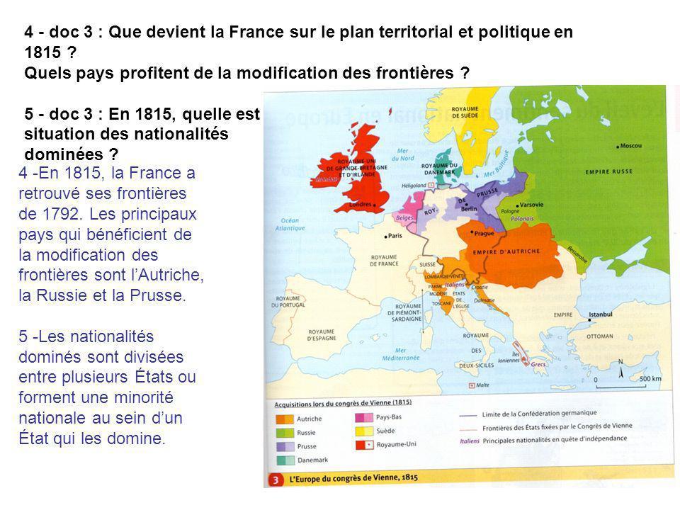 4 - doc 3 : Que devient la France sur le plan territorial et politique en 1815