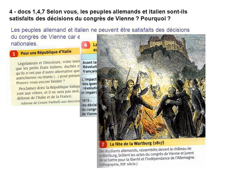 4 - docs 1,4,7 Selon vous, les peuples allemands et italien sont-ils satisfaits des décisions du congrès de Vienne Pourquoi