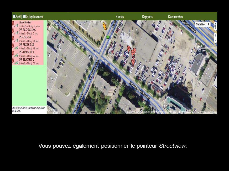 Vous pouvez également positionner le pointeur Streetview.