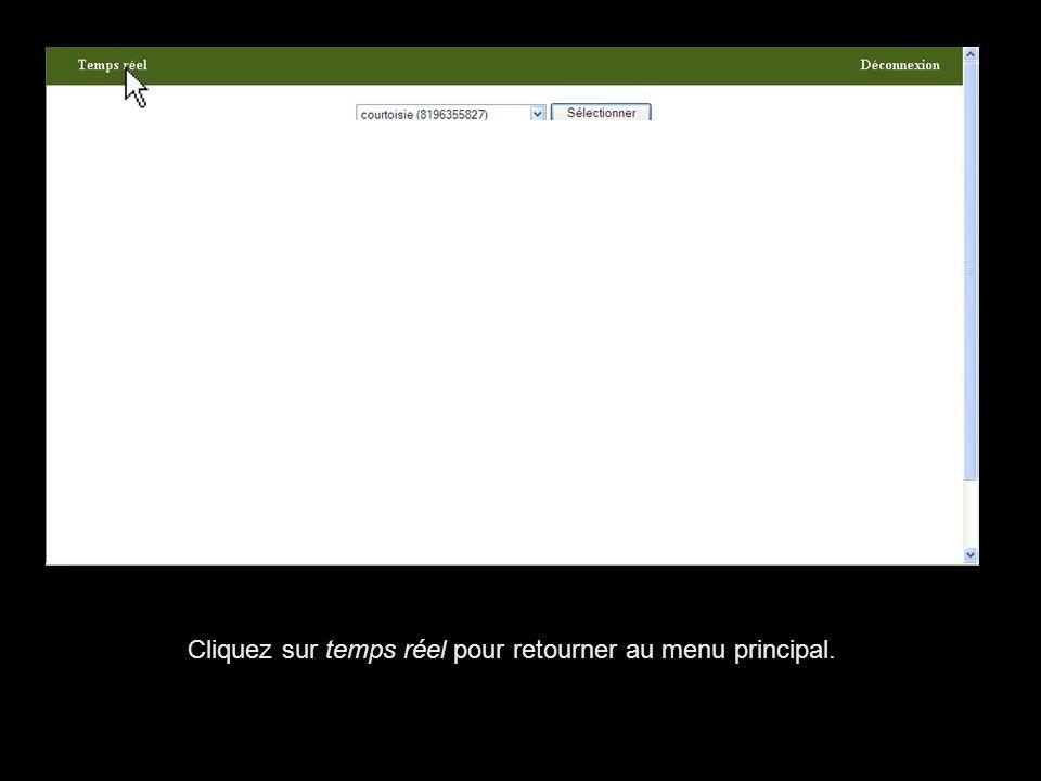 Cliquez sur temps réel pour retourner au menu principal.