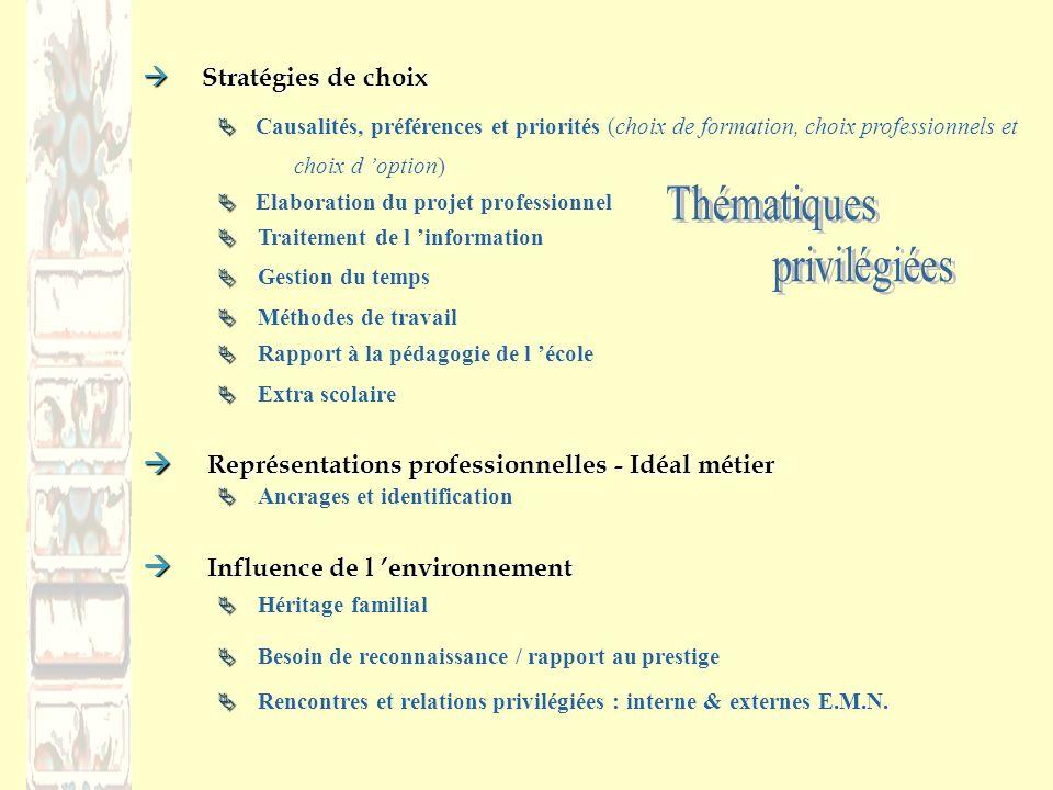 Thématiques privilégiées  Stratégies de choix