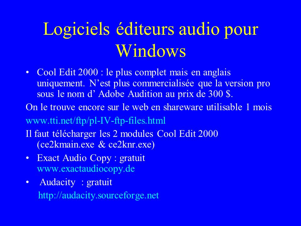 Logiciels éditeurs audio pour Windows