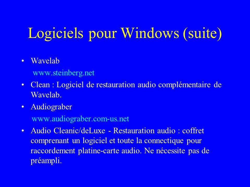 Logiciels pour Windows (suite)