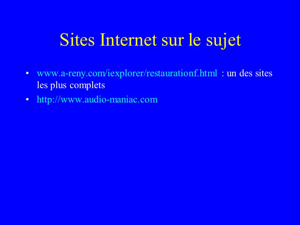 Sites Internet sur le sujet