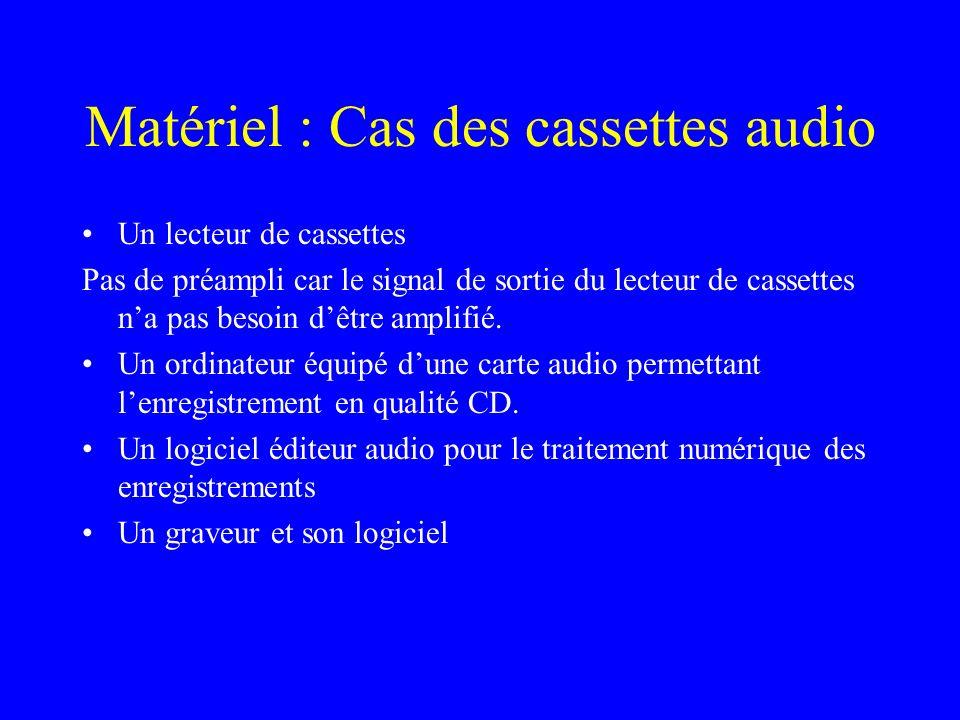 Matériel : Cas des cassettes audio