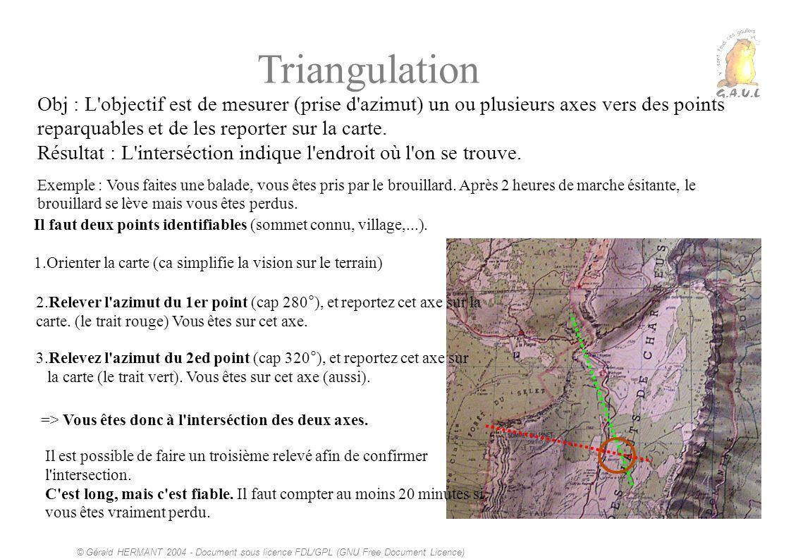 Triangulation Obj : L objectif est de mesurer (prise d azimut) un ou plusieurs axes vers des points reparquables et de les reporter sur la carte.