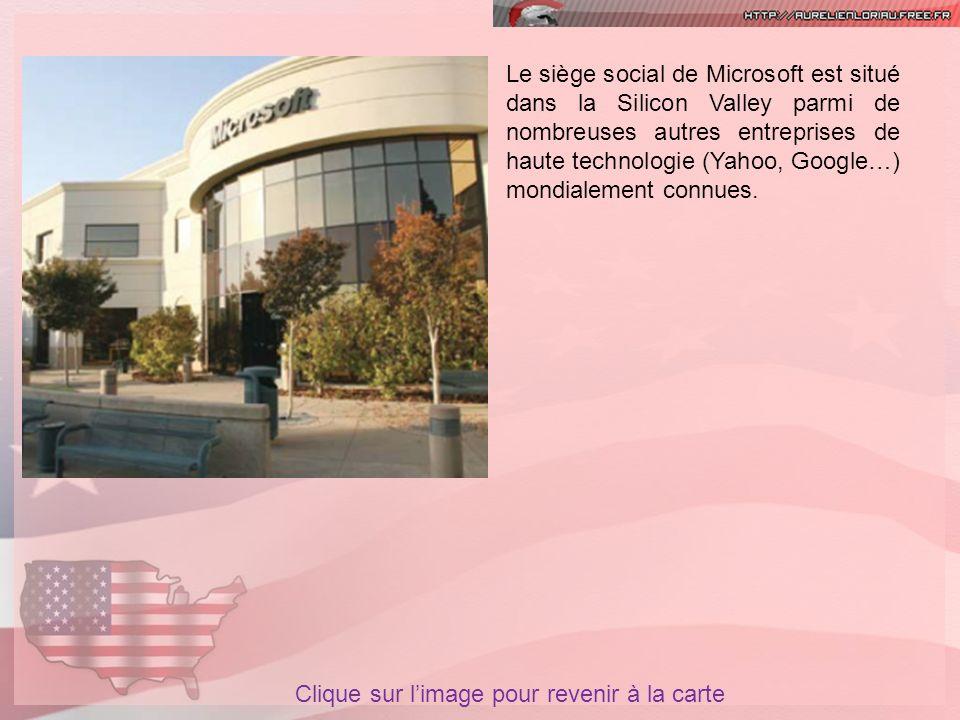 Le siège social de Microsoft est situé dans la Silicon Valley parmi de nombreuses autres entreprises de haute technologie (Yahoo, Google…) mondialement connues.