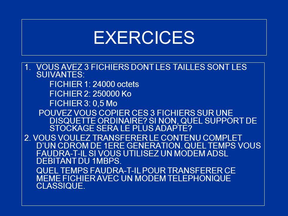 EXERCICES VOUS AVEZ 3 FICHIERS DONT LES TAILLES SONT LES SUIVANTES: