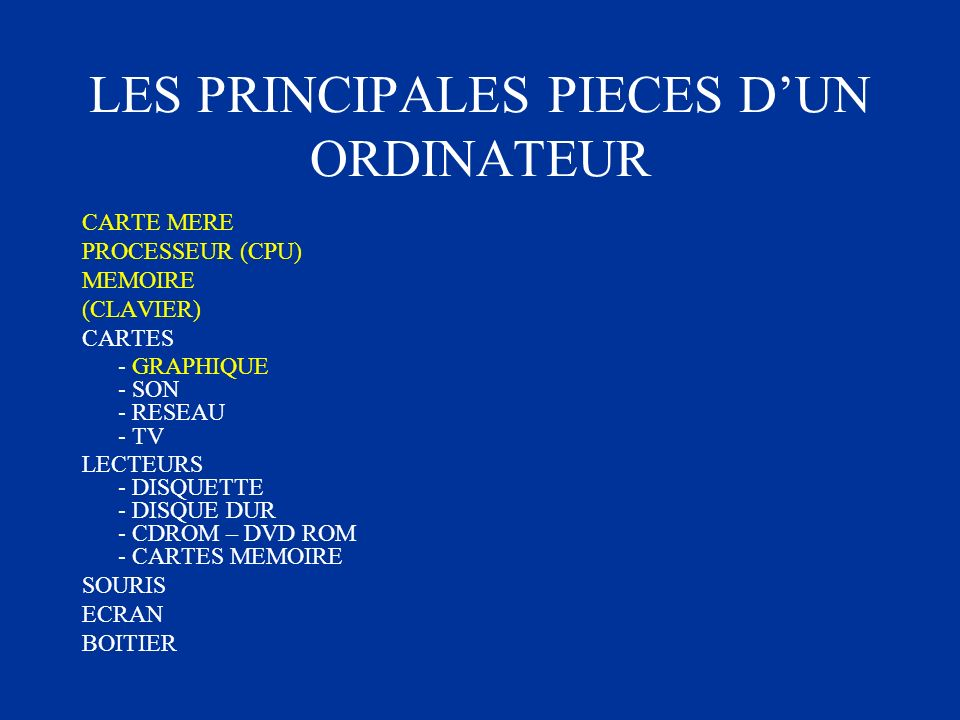 LES PRINCIPALES PIECES D'UN ORDINATEUR