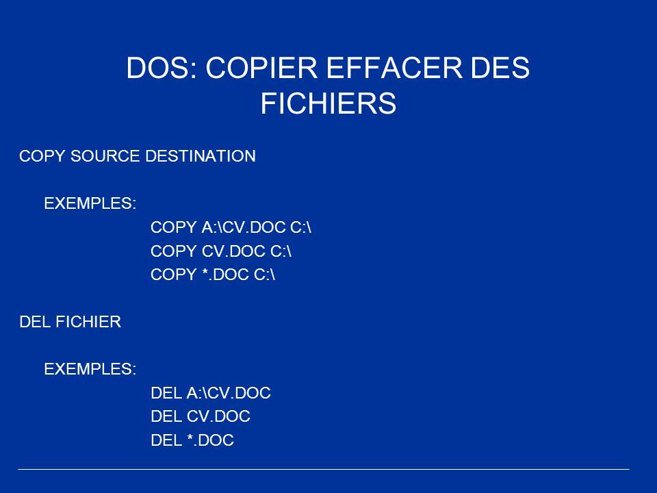 DOS: COPIER EFFACER DES FICHIERS