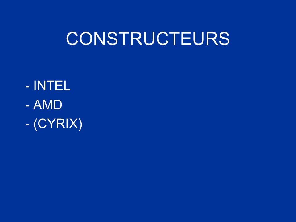 CONSTRUCTEURS - INTEL - AMD - (CYRIX)