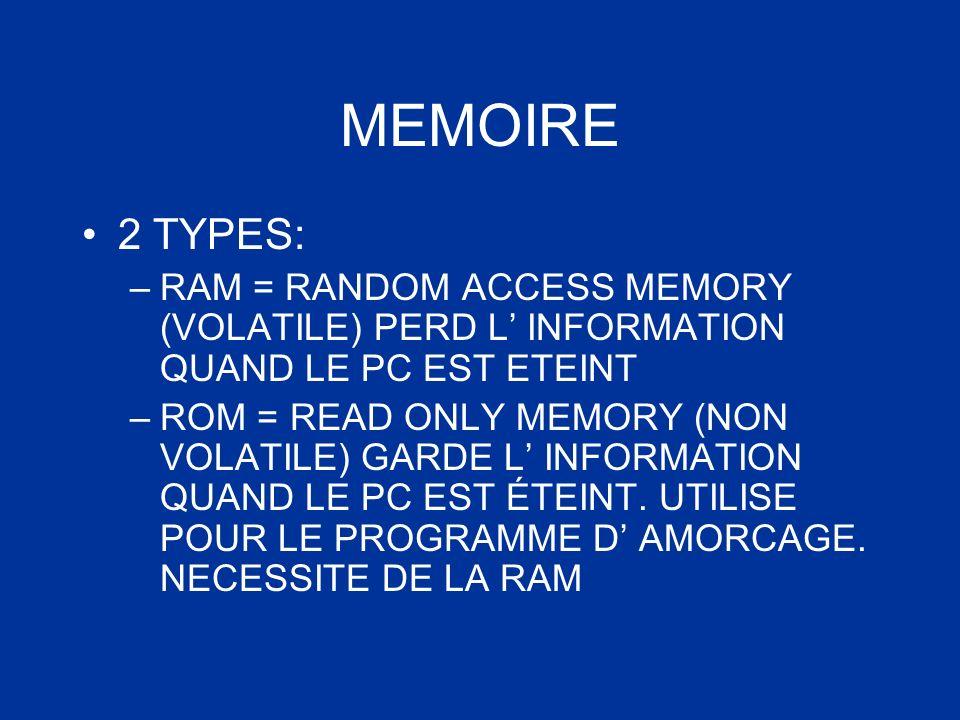 MEMOIRE 2 TYPES: RAM = RANDOM ACCESS MEMORY (VOLATILE) PERD L' INFORMATION QUAND LE PC EST ETEINT.