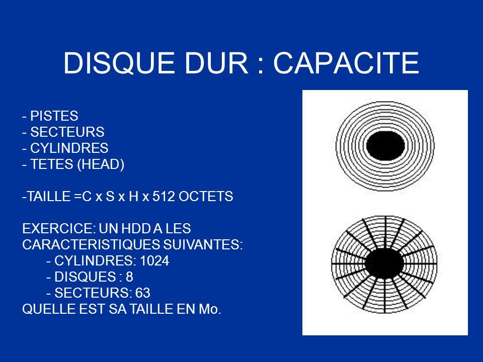 DISQUE DUR : CAPACITE - PISTES - SECTEURS CYLINDRES TETES (HEAD)