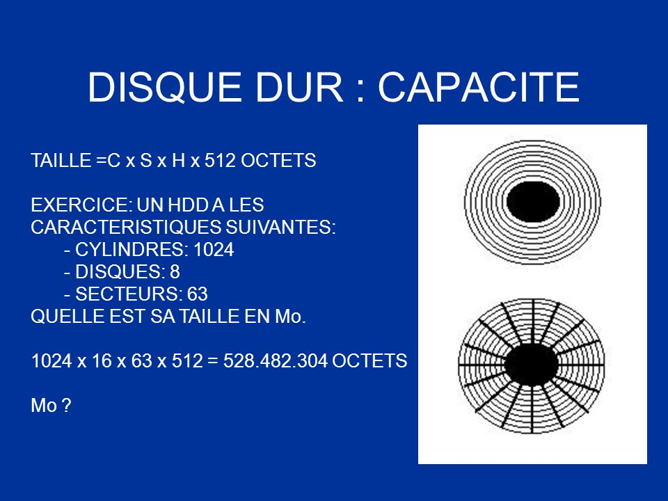 DISQUE DUR : CAPACITE TAILLE =C x S x H x 512 OCTETS