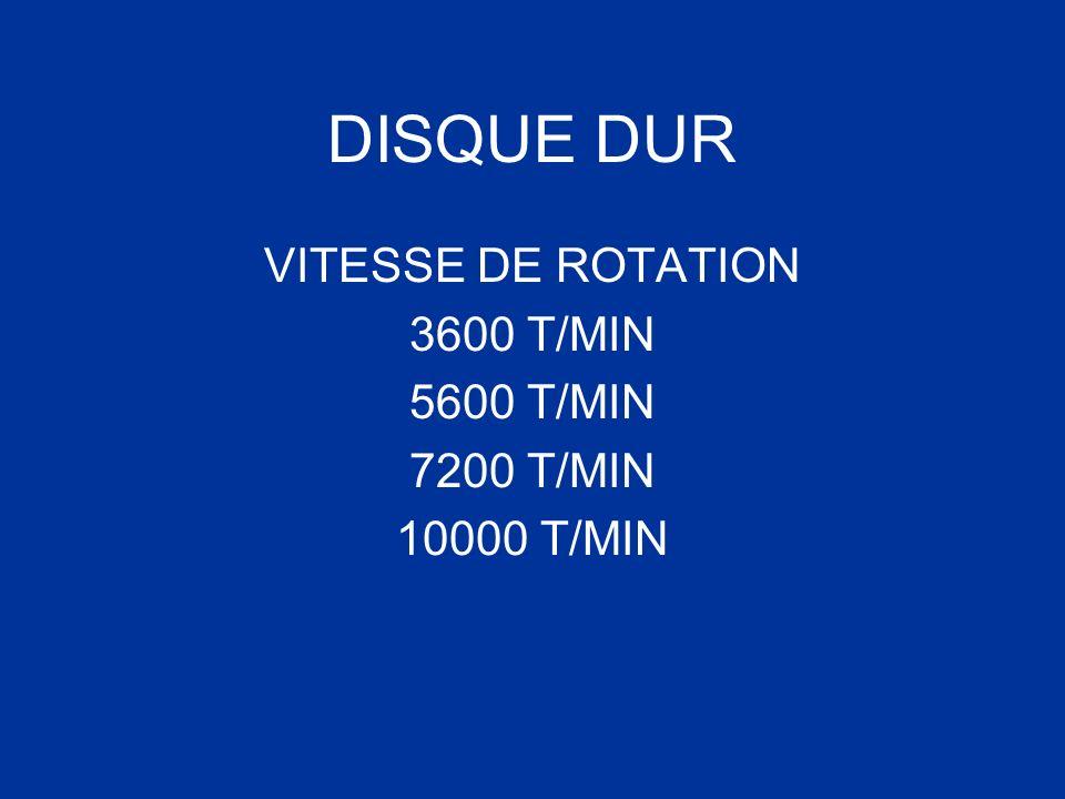 DISQUE DUR VITESSE DE ROTATION 3600 T/MIN 5600 T/MIN 7200 T/MIN