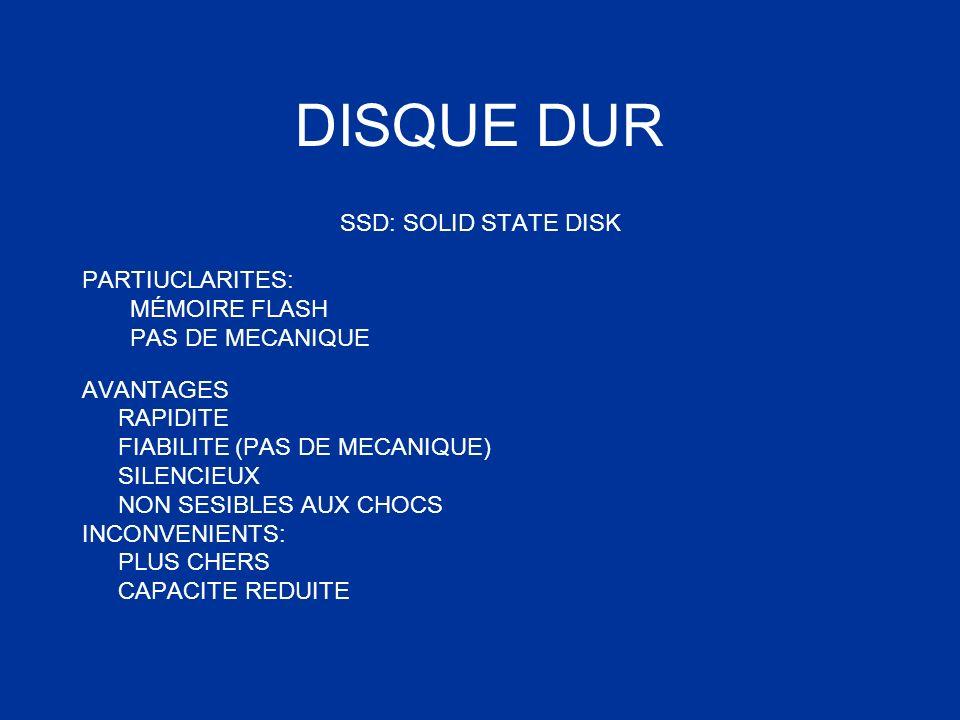 DISQUE DUR SSD: SOLID STATE DISK PARTIUCLARITES: MÉMOIRE FLASH