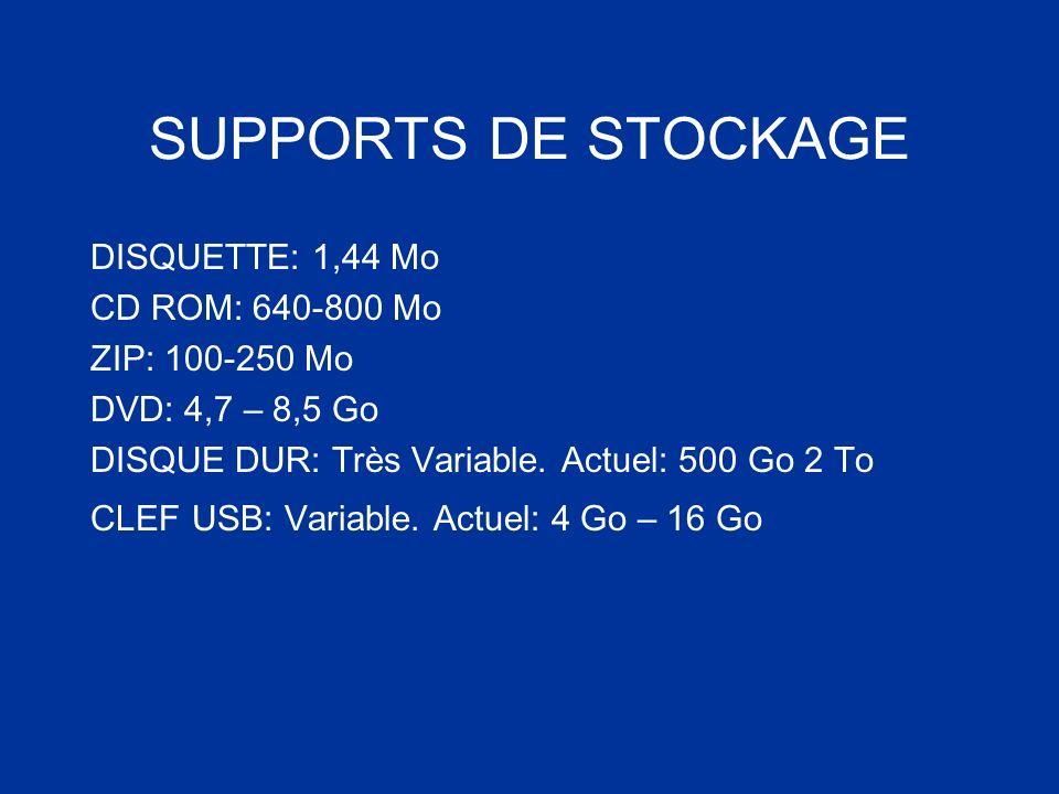 SUPPORTS DE STOCKAGE DISQUETTE: 1,44 Mo CD ROM: 640-800 Mo