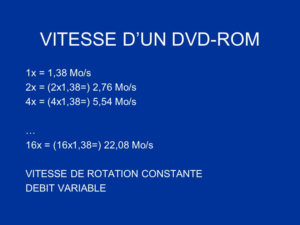 VITESSE D'UN DVD-ROM 1x = 1,38 Mo/s 2x = (2x1,38=) 2,76 Mo/s