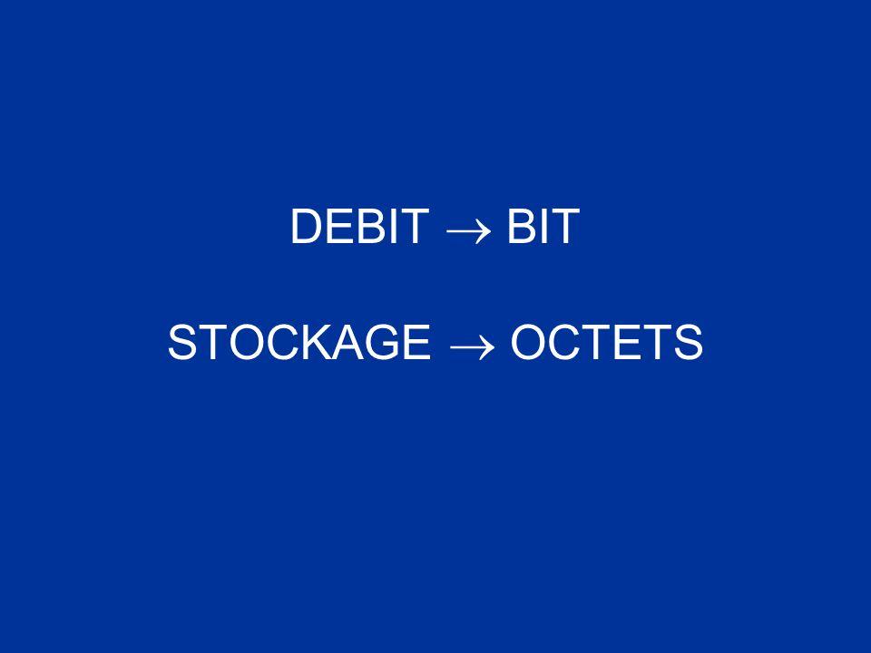 DEBIT  BIT STOCKAGE  OCTETS