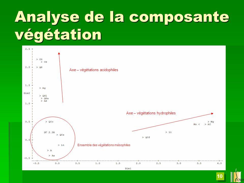 Analyse de la composante végétation