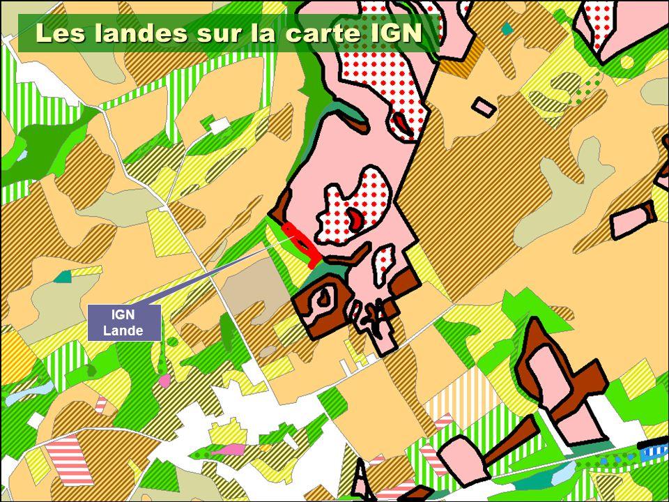 Les landes sur la carte IGN