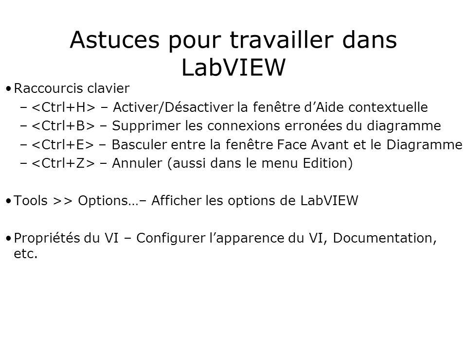 Astuces pour travailler dans LabVIEW