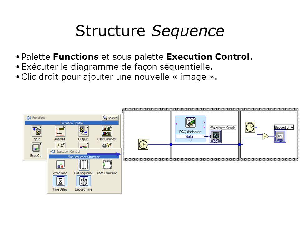 Structure Sequence Palette Functions et sous palette Execution Control. Exécuter le diagramme de façon séquentielle.