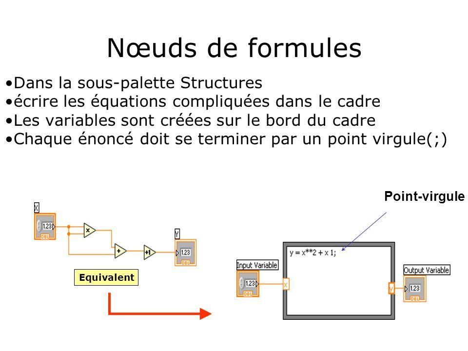 Nœuds de formules Dans la sous-palette Structures
