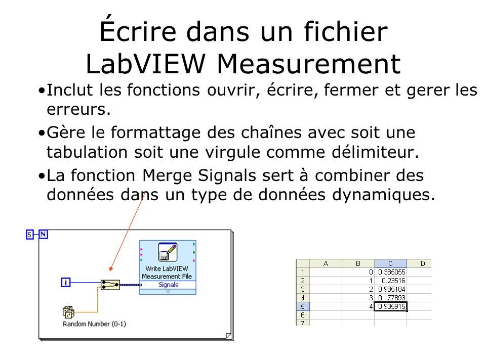 Écrire dans un fichier LabVIEW Measurement