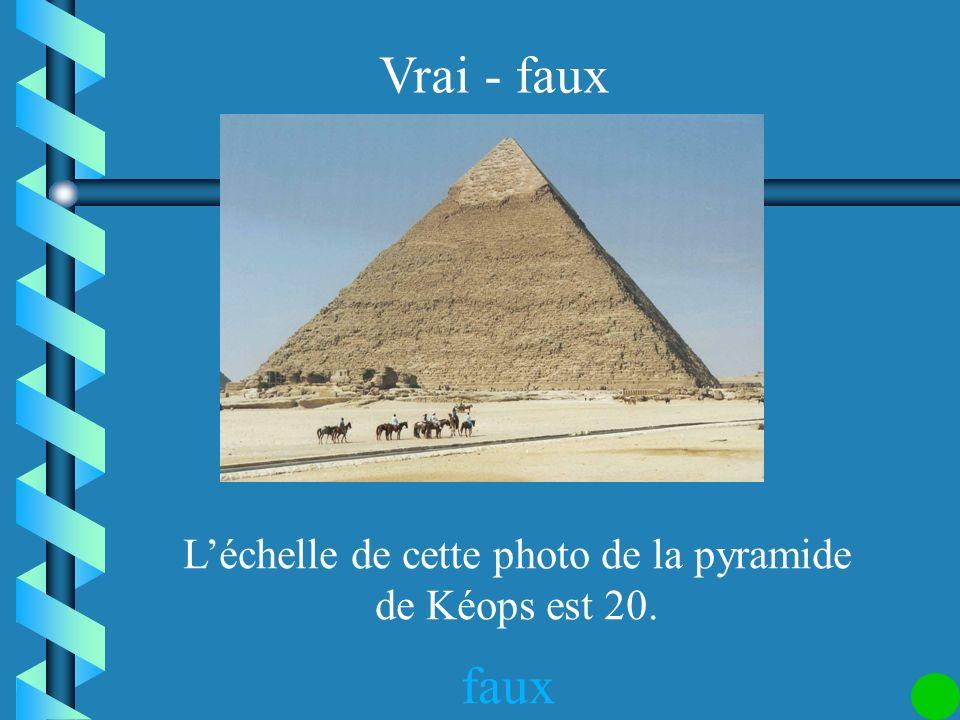 L'échelle de cette photo de la pyramide de Kéops est 20.