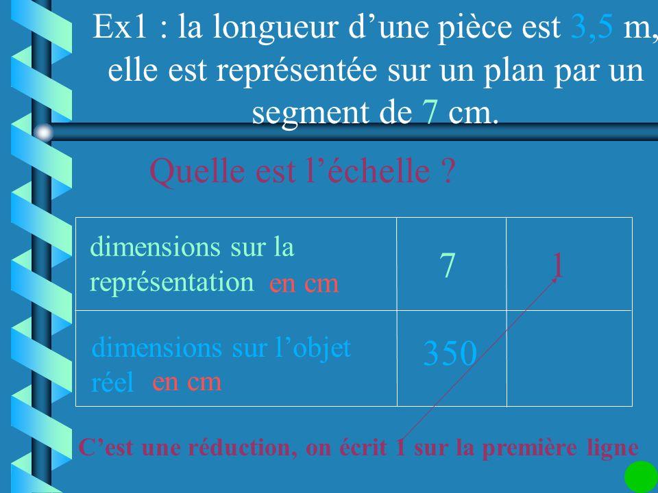 Ex1 : la longueur d'une pièce est 3,5 m, elle est représentée sur un plan par un segment de 7 cm.