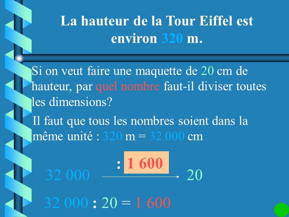 La hauteur de la Tour Eiffel est environ 320 m.