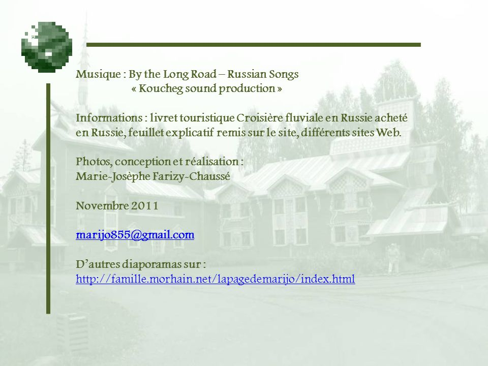 Musique : By the Long Road – Russian Songs