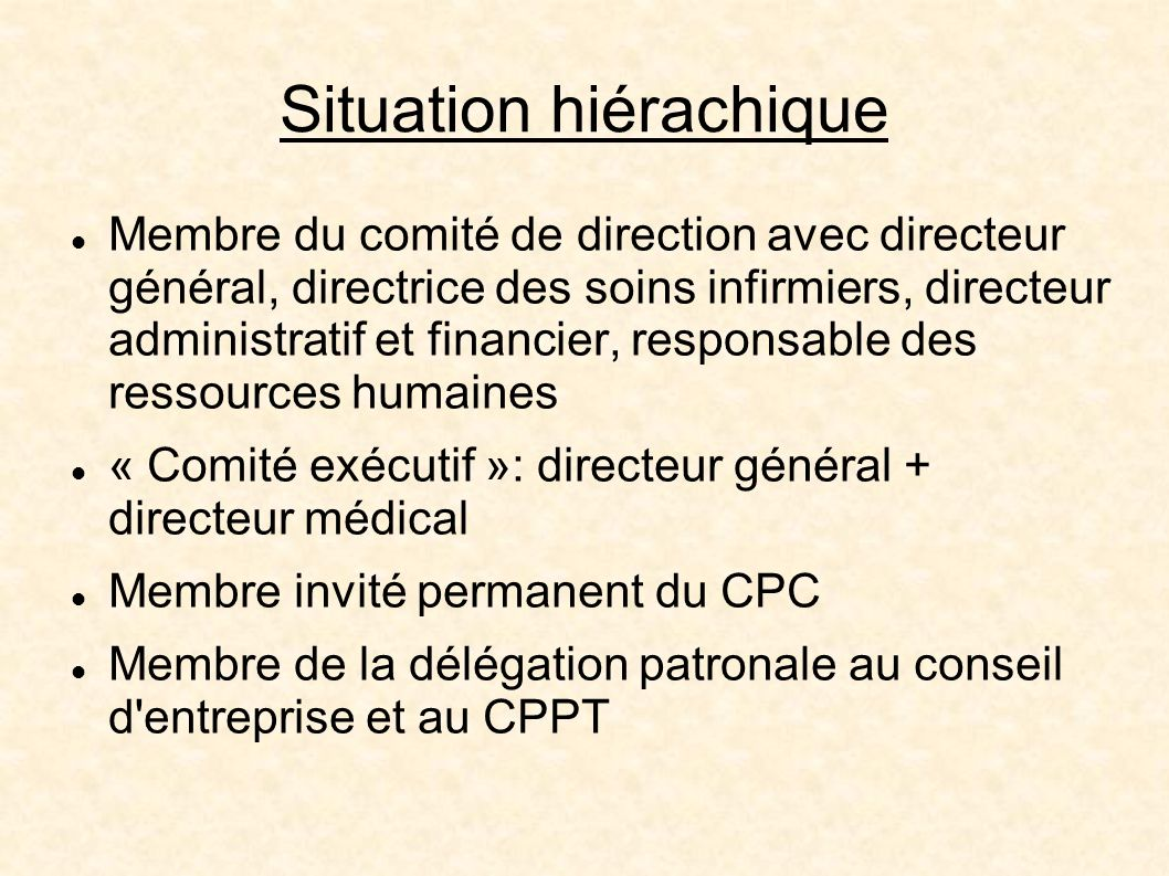 Situation hiérachique