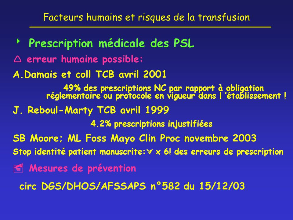  Prescription médicale des PSL