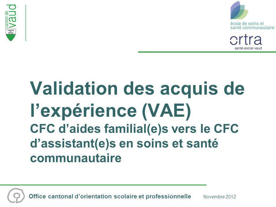 Validation des acquis de l'expérience (VAE) CFC d'aides familial(e)s vers le CFC d'assistant(e)s en soins et santé communautaire