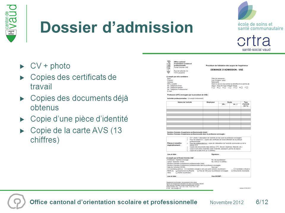 Dossier d'admission CV + photo Copies des certificats de travail