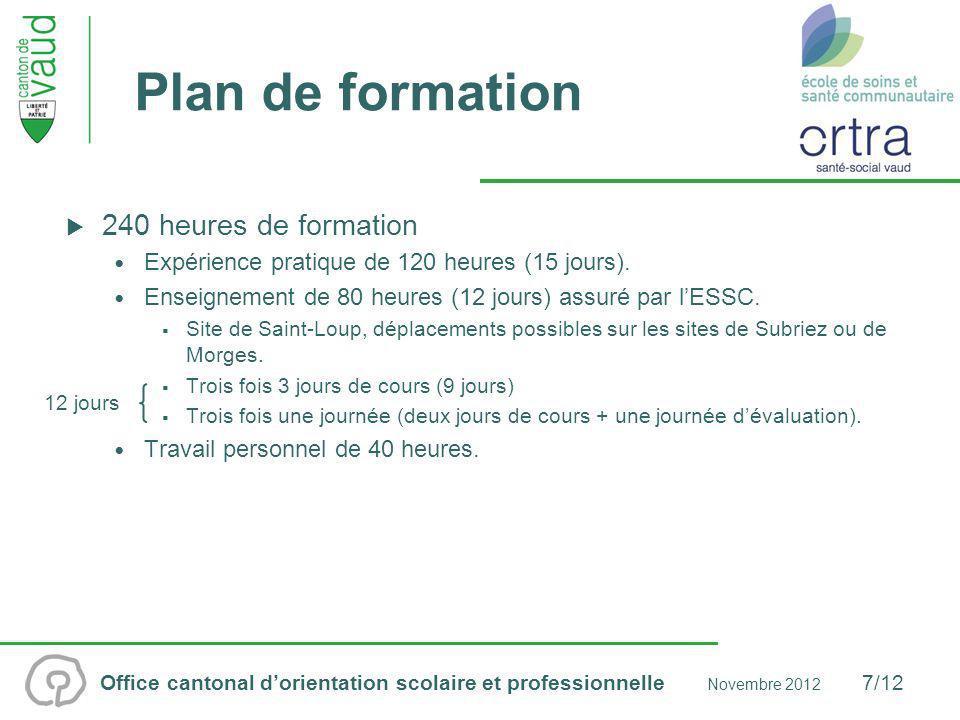 Plan de formation 240 heures de formation