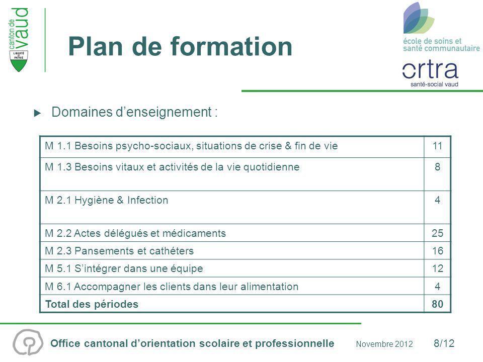 Plan de formation Domaines d'enseignement :