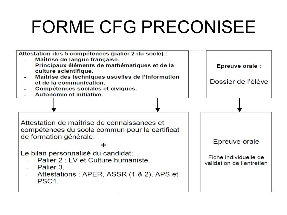 FORME CFG PRECONISEE
