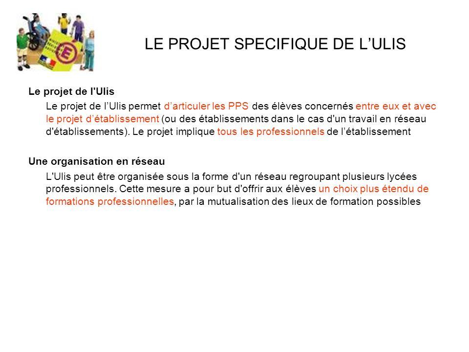 LE PROJET SPECIFIQUE DE L'ULIS