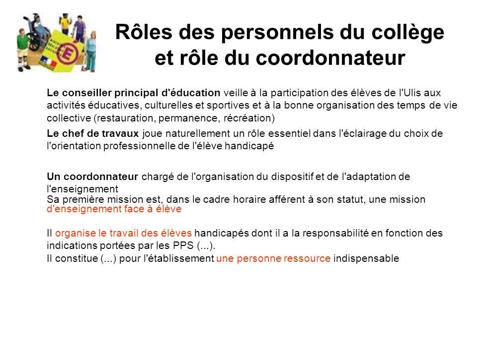 Rôles des personnels du collège et rôle du coordonnateur