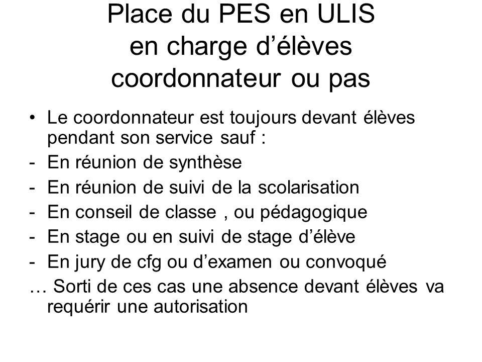 Place du PES en ULIS en charge d'élèves coordonnateur ou pas