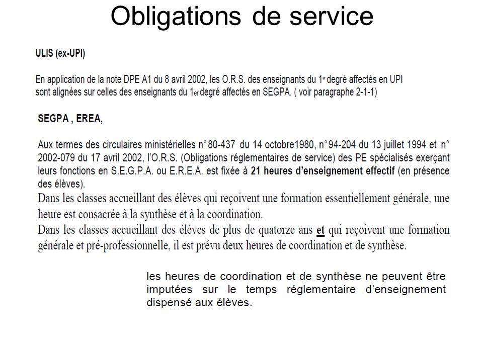 Obligations de service