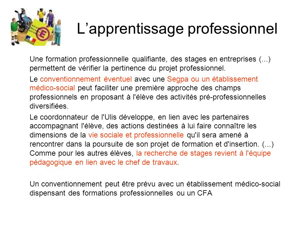 L'apprentissage professionnel
