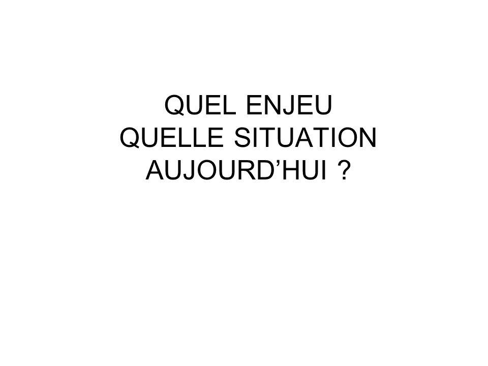 QUEL ENJEU QUELLE SITUATION AUJOURD'HUI